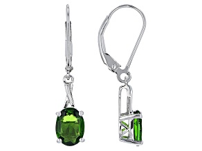 Green Chrome Diopside Silver Solitaire Dangle Earrings 2.22ctw