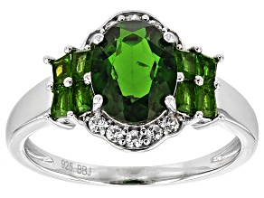 Green Russian Chrome Diopside Sterling Silver Ring 2.60ctw
