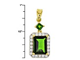 Green Chrome Diopside 18k Gold Over Silver Pendant With Chain 3.18ctw