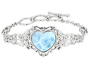 Blue Larimar Sterling Silver Heart Bracelet