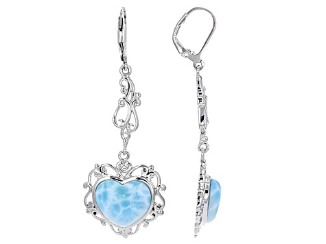Blue Larimar Sterling Silver Earrings