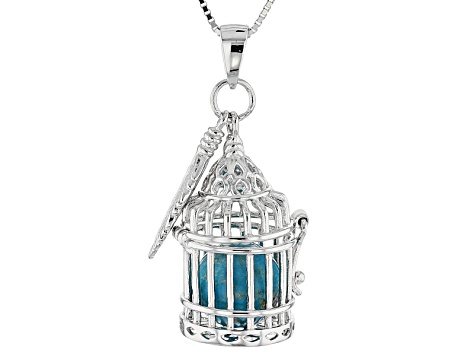 Blue Turquoise Silver Bird Cage With Feather Charm Pendant With Chain