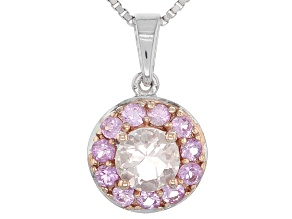 Pink Morganite Sterling Silver Pendant With Chain .83ctw