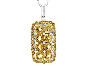 Yellow Citrine Sterling Silver Pendant With Chain 2.44ctw