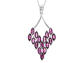 Purple Rhodolite Sterling Silver Pendant With Chain 5.07ctw