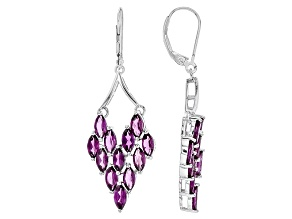 Purple Rhodolite Sterling Silver Dangle Earrings 6.97ctw