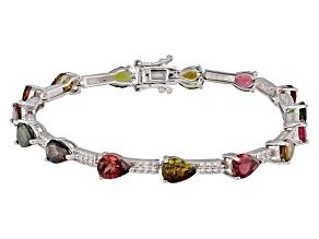 Multi-Tourmaline Sterling Silver Bracelet 8.86ctw