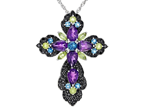Purple Amethyst Rhodium Over Sterling Silver Cross Pendant With Chain 10.95ctw