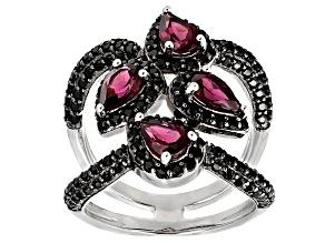 Purple Rhodolite Sterling Silver Ring 3.23ctw
