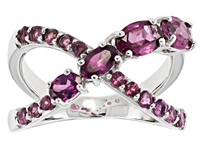 Raspberry color Rhodolite Sterling Silver Crossover Ring 1.94ctw