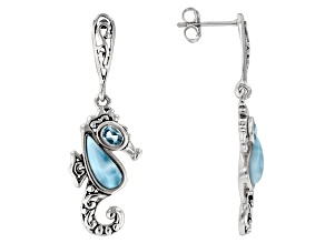 Blue Larimar Sterling Silver Seahorse Earrings .40ctw