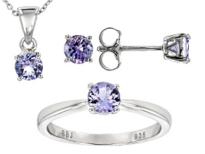 Blue Tanzanite Silver Ring, Earrings, Pendant With Chain Set 1.99ctw