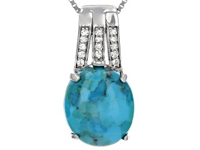 Blue Turquoiuse Sterling Silver Pendant With Chain .21ctw