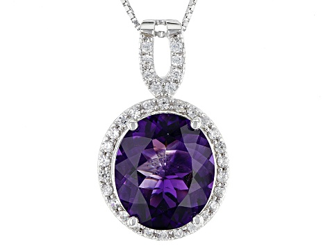 Purple Moroccan Amethyst Sterling Silver Pendant With Chain 6.66ctw