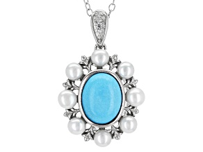 Blue Turquoise Sterling Silver Pendant With Chain .03ctw