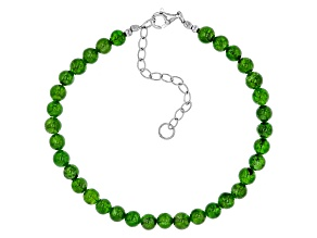 Green Russian Chrome Diopside Bead Sterling Silver Bracelet 40.00ctw