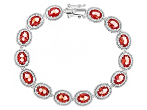 Orange Lab Created Padparadscha Sapphire Rhodium Over Sterling Silver Bracelet 16.46ctw