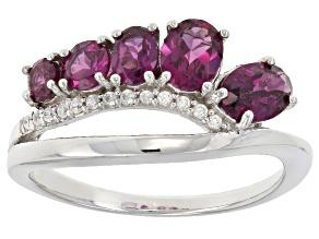 Purple Rhodolite Sterling Silver Ring 1.40ctw