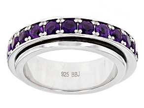 Purple African Amethyst Sterling Silver Spinner Ring 2.24ctw