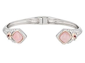 Pink Opal Two-Tone Silver Cuff Bracelet .08ctw