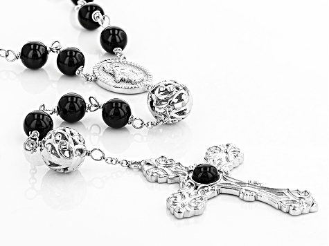 Black Agate Sterling Silver Rosary Bead Necklace