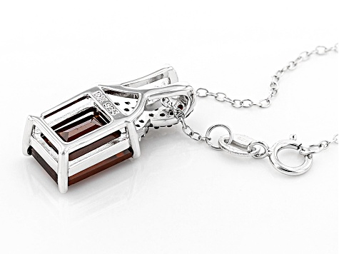 Red Hessonite Sterling Silver Pendant With Chain 4.23ctw