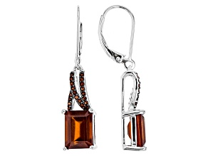 Red Hessonite Sterling Silver Dangle Earrings 6.07ctw