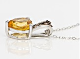 Yellow Citrine Sterling Silver Pendant With Chain 2.06ctw