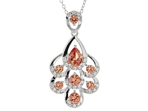 Orange Lab Padparadscha Sapphire Silver Pendant With Chain 2.66ctw