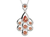 Orange Lab Created Padparadscha Sapphire Rhodium Over Silver Pendant With Chain 2.66ctw