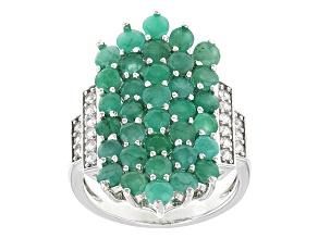 Green Sakota Emerald Sterling Silver Ring 3.71ctw