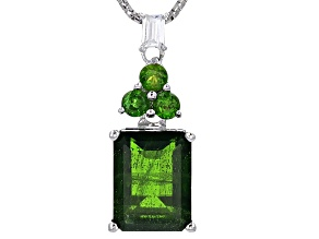 Green Russian Chrome Diopside Silver Pendant With Chain 2.70ctw