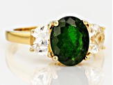 Green Russian chrome diopside 18k yellow gold over sterling silver ring 3.96ctw