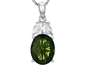Green Russian Chrome Diopside Silver Pendant With Chain 3.15ctw