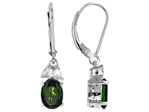 Green Russian Chrome Diopside Sterling Silver Earrings 1.87ctw