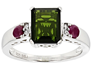 Picture of Green Russian Chrome Diopside Sterling Silver Ring 2.70ctw