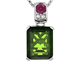 Green Russian Chrome Diopside Silver Pendant With Chain 2.48ctw