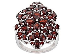 Red Garnet Sterling Silver Ring 7.17ctw