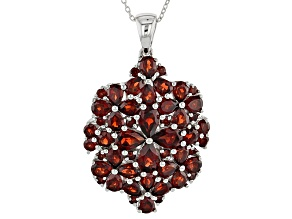 Red Garnet Sterling Silver Pendant With Chain 7.30ctw