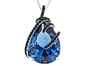 Blue Lab Created Spinel Rhodium Over Sterling Silver Pendant With Chain 14.62ctw