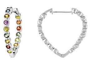 Multi-Sapphire Silver Heart Shape Earrings 4.08ctw