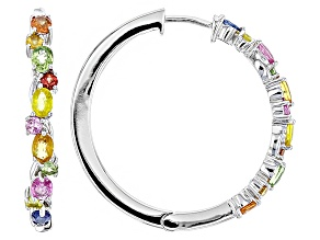 Multi-Sapphire Sterling Silver Hoop Earrings 3.19ctw
