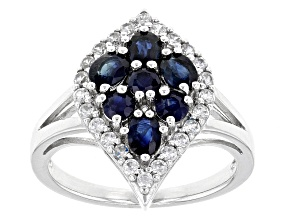Blue Kanchanaburi Sapphire Sterling Silver Ring 1.70ctw