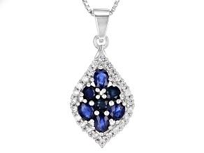 Blue Kanchanaburi Sapphire Silver Pendant With Chain 1.69ctw