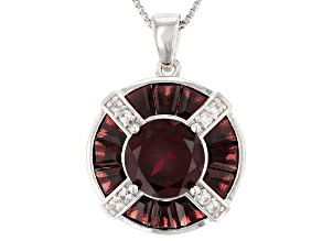 Red Garnet Sterling Silver Pendant With Chain 5.21ctw