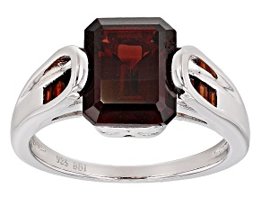 Red Garnet Sterling Silver Ring 3.54ctw