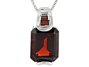 Red Garnet Sterling Silver Pendant With Chain 3.29ctw