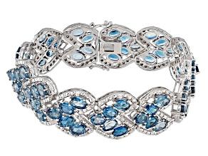London Blue Topaz Sterling Silver Bracelet 33.85ctw