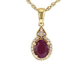 Red ruby 18k gold over silver pendant with chain 2.73tw