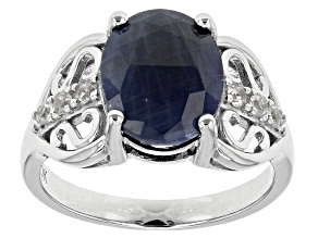 Blue india Sapphire Sterling Silver Ring 4.69ctw